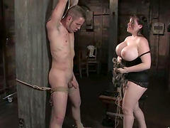 Hugely Boobed Daphne Rosen Playing with Guy in Femdom Torture BDSM vid
