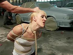 Tied up blonde gets gangbanged in a..