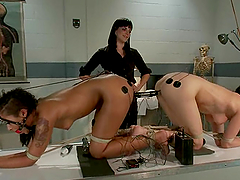 Two girls get tortured with..