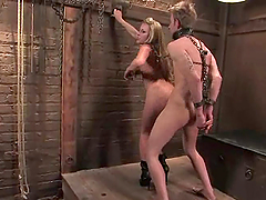 Dean Strong gets forced to lick Harmony's pussy in BDSM scene