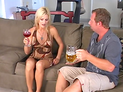 Dude fucks a blonde with a pierced pussy