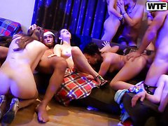 New Year's Orgy With Sexy College..