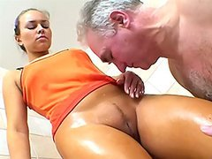 Old Man Fucks and Licks A Gorgeous Blonde's Pussy In The Shower