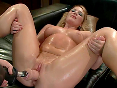 Luscious blond is being poked by a..