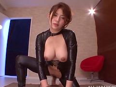 Foxy Japanese Girl in Latex Blowjob..