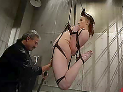 Horny chick gets hogtied and fucked by..