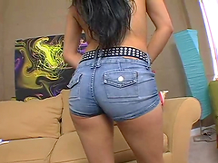 Latina with awesome butt in a thong enjoys a hardcore pounding