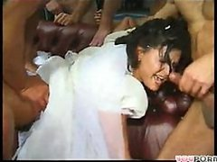 Slutty Brunette Bride Gets Gangbanged..