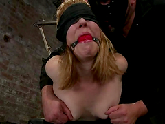 Blindfolded and tied up Mallory..