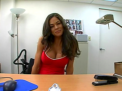 Stunning curvy MILF with big fake tits titjobs and gets laid in POV