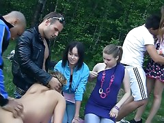 Wild outdoor orgy with horny Russian..