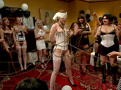 Redhead Justine Joli gets tied up and..