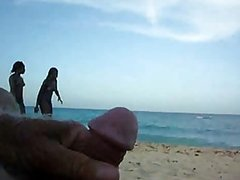 Guy Jerking Off In The Beach