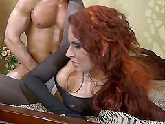 Horny Redhead Fucks a Guy and a Babe..