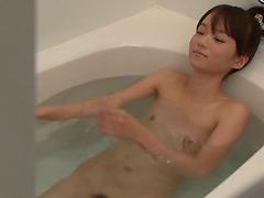 Skinny Asuka Hoshino take a bath and..