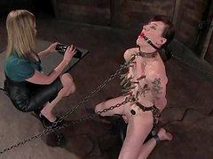 Sybian and Chains in Lesbian BDSM..