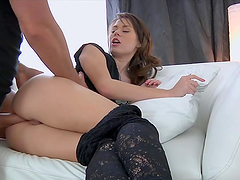 Pretty babe gets her tight ass fucked..