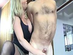 Busty Mom Jerking Off A Tied Up Dude