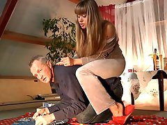 Blonde chick performs pony play and..