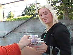 Blonde teen gets picked up and sucks a..
