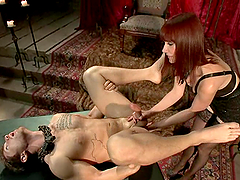 Maitresse Madeline plays with Steve..