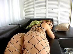 Slutty Babe in Fishnet Outfit Krystal..