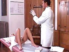Horny doc stroking a fresh pussy
