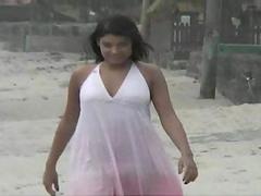 Rough sex on the beach with a kinky..