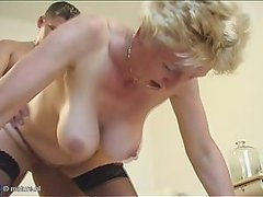 Buxom Blonde Granny Gets Fucked By..