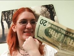 Glassed Redhead Teen Gets Paid To Have..
