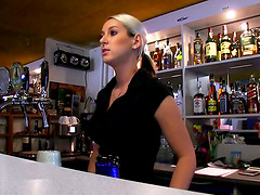 Blonde Bartender Babe Sucking And..