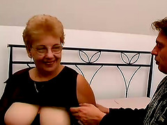 Blonde granny Kat blows and takes a..