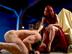 Smoking hot redhead bitch is pegging..