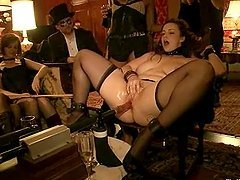 Crazy chicks get tied up and toyed..