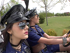 Two hot babes in police uniform get..