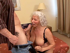 Filthy grandma is loving a huge cock..