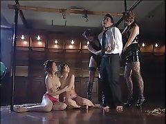 Artful rope bondage in Japanese group..