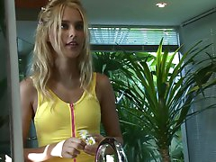 Young blonde Sasha is sucking a hard..