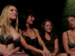 Three Girls Face Sitting and Toying a..