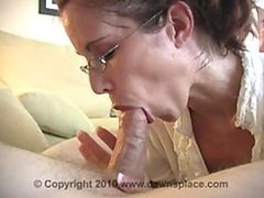 Glassed Brunette MILF Gives Blowjob..