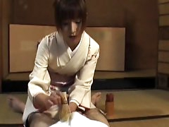 Asian brunette is giving an awesome..