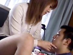 Asian secretary is teasing her lovely..