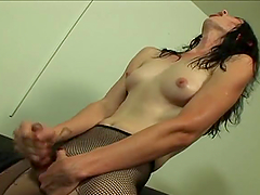 Mature blonde gets her holes fucked hard by two trannies