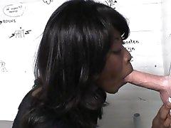 Busty ebony in glory hole porn