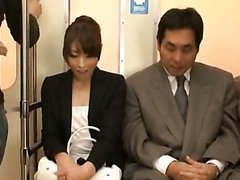 Train Handjob with Asian MILF