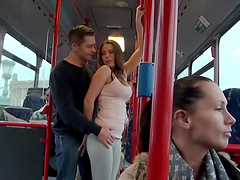 Hardcore public sex in the public buss..