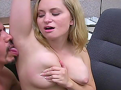 Guy licks and cums on blonde's armpit..