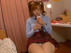 Cute Japanese Teen Masturbating With..