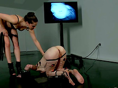 Crazy Fisting in Lesbian Femdom Video..