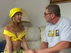 Sexy blonde in a miniskirt gets her..